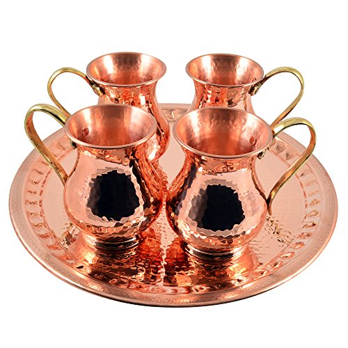 4 X CopperBull Thickest Heaviest Hammered 1 mm Copper Tumbler Cup Mug Set with TRAY for Water Moscow Mule Ayurvedic Healing,14 Oz by CopperBull