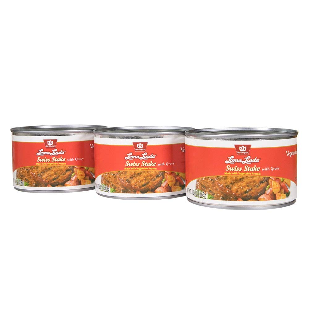 Loma Linda - Plant-Based - Swiss Stake with Gravy (13 oz.) (Pack of 3) - Kosher