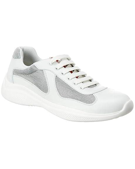 26f1c9bf47 Prada Sneaker Scarpe Lace up Uomo Plume Bike 4E3304 Bianca Argento Pelle  Tessuto (40 EU