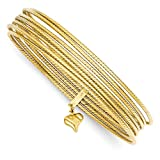 ICE CARATS 14kt Yellow Gold Slip On 7 Bangles Bracelet Cuff Expandable Stackable Bangle Set Fine Jewelry Ideal Gifts For Women Gift Set From Heart