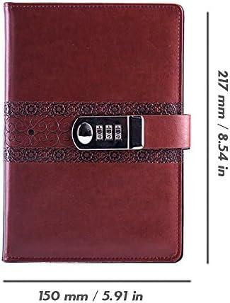 toim PU-Leder mit Tagebuch Notizbuch, Vintage mit Notepad mit Zahlenschloss, Größe A5Tagebuch mit Passwort 217 * 150 mm seeblau