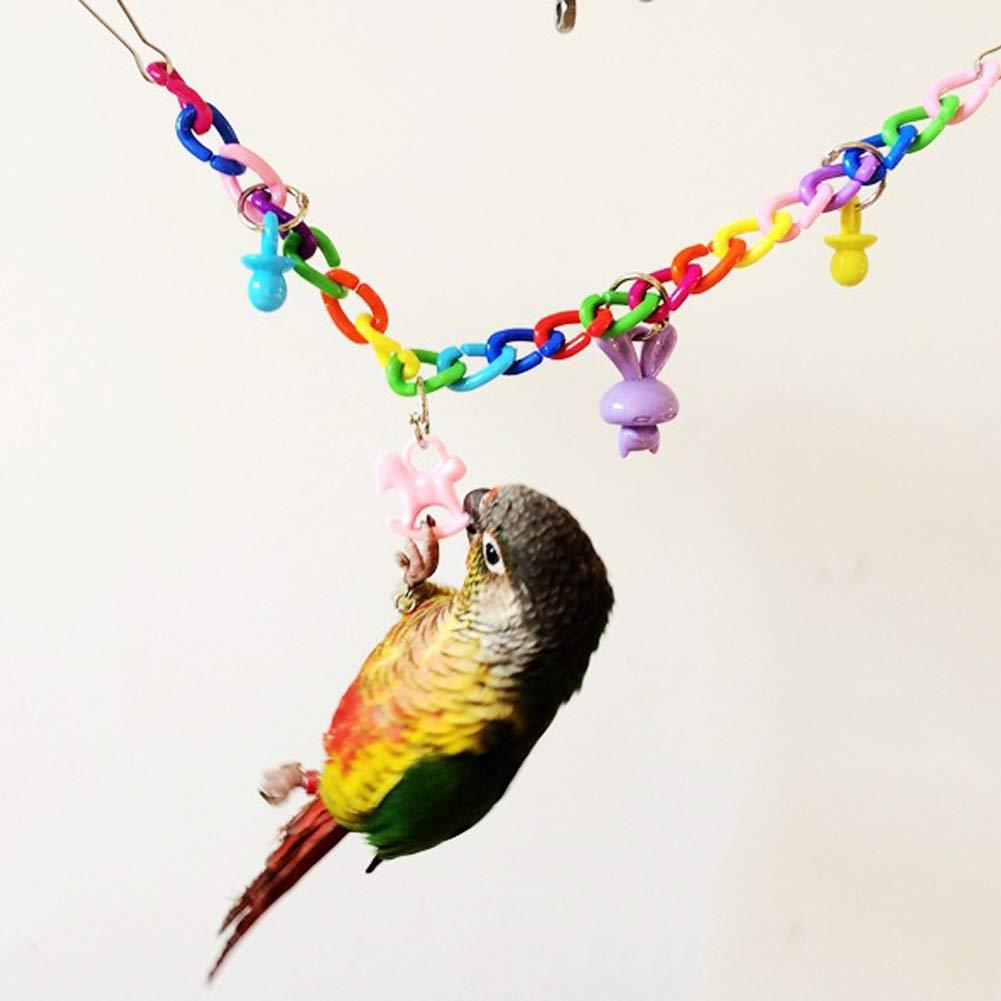 ulofpc Pájaro Colorido Juguete Loro Columpio Jaula Juguetes Colorido Puente levadizo Juguetes Periquito Cockatiel