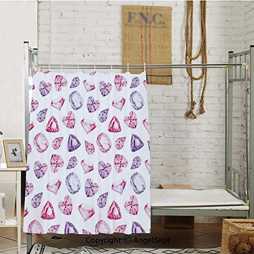 Amethyst Heart and Triangle Shaped Diamonds Hanging Digital Prints Art Decorative Dormitory Bed Curtain,(72