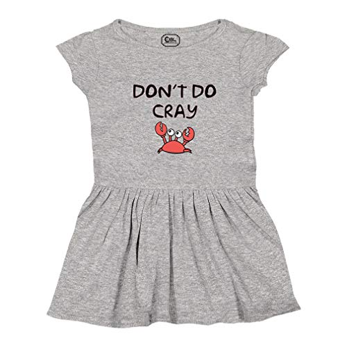 Cute Rascals Don't Be Cray Carb Short Sleeve Taped Neck Girl Cotton Toddler Rib Dress School Clothes - Oxford Gray, 2T