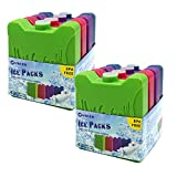 Freezer Blocks Lunch Ice Packs Kids Cool Freezer Chillers Slim for Cooler Bag or Box, Keep Food Cold Fresh Health, Mini Multicolored, Gifts for Children Adults, Set of 8.
