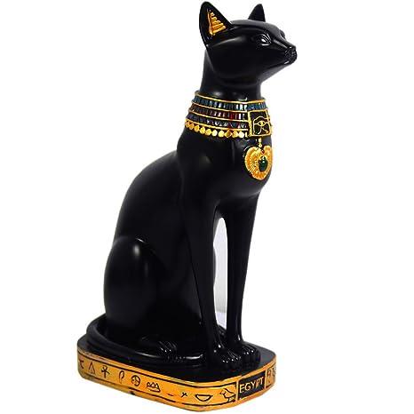 Escultura KiaoTime con figura de deidad felina del antiguo Egipto, resina, negro, 9.5