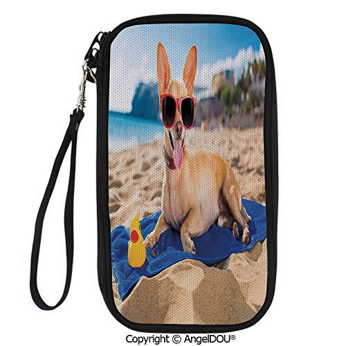 - PUTIEN Zip Around Travel Card Holder Purse Chihuahua Dog at the Ocean Shore Sunbathing Smiling Coastal Charm Print for Women Girls Ladies.