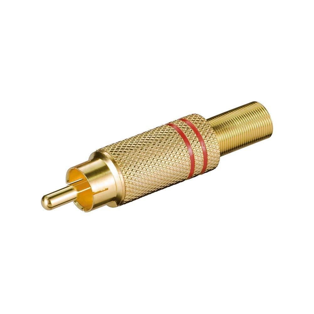 Goobay 11280 Connecteur Cinch Dor/é avec Protection Anti-Torsion Rouge