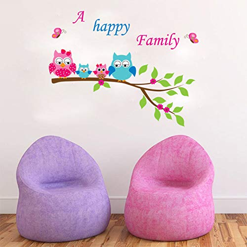 Wall Sticker New Owl Tree Home Decor Super Cute A Happy Family Peel Sticker Kids Favorite Room Decal Mixable