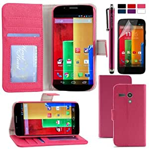 LK Wallet PU Leather Case Flip Cover Built-in Card Slots & Stand For Motorola Moto G with Free Screen Protector & Stylus (Hot Pink)
