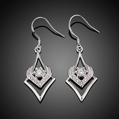 lureme® Mode Style Plaqué argent diamant Cœur Shaped with Zircon Laissez tomber boucles d'oreilles(02004984)