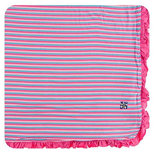KicKee Pants Little Girls Print Ruffle Toddler Blanket - Flamingo Anniversary Stripe with Flamingo Trim, One Size