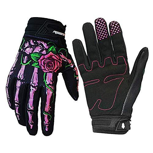 RIGWARL Full-Finger Motocross Gloves Skeleton Bones Motorcycle Gloves for Men Women Non-Slip andResistance to Abrasion for Biking Cycling Climbing Hiking (Pink, Medium)