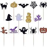 Get Fresh Halloween Cupcake Toppers Set, 14pcs Sparkly Set, Bat Witch...