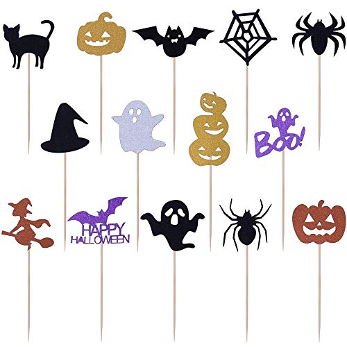 Get Fresh Halloween Cupcake Toppers Set, 14pcs Sparkly Set, Bat Witch Ghost Star, Baby Shower Food Picks Decor, Cupcake Halloween Party Picks, Halloween Cupcake Decorations ()