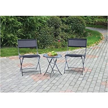 Mainstays Grab and Go 3-Piece Outdoor Bistro Set, River Rock and Black, Seats 2