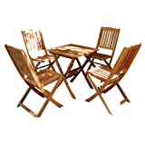 VIFAH V03SET2 Outdoor Wood 5-Piece Dining Set, Natural Wood Finish, 24 by 24 by 27-Inch For Sale