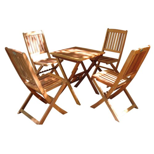 VIFAH V03SET2 Outdoor Wood 5-Piece Dining Set, Natural Wood Finish, 24 by 24 by 27-Inch Review
