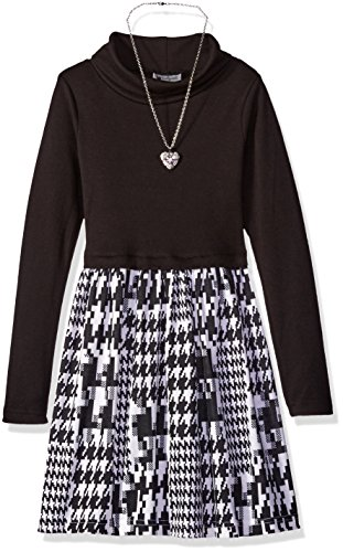 (Emily West Girls' Big Knit Black to Printed Cowl Neck Ponte Dress with Removable Heart Necklace, White, 10)