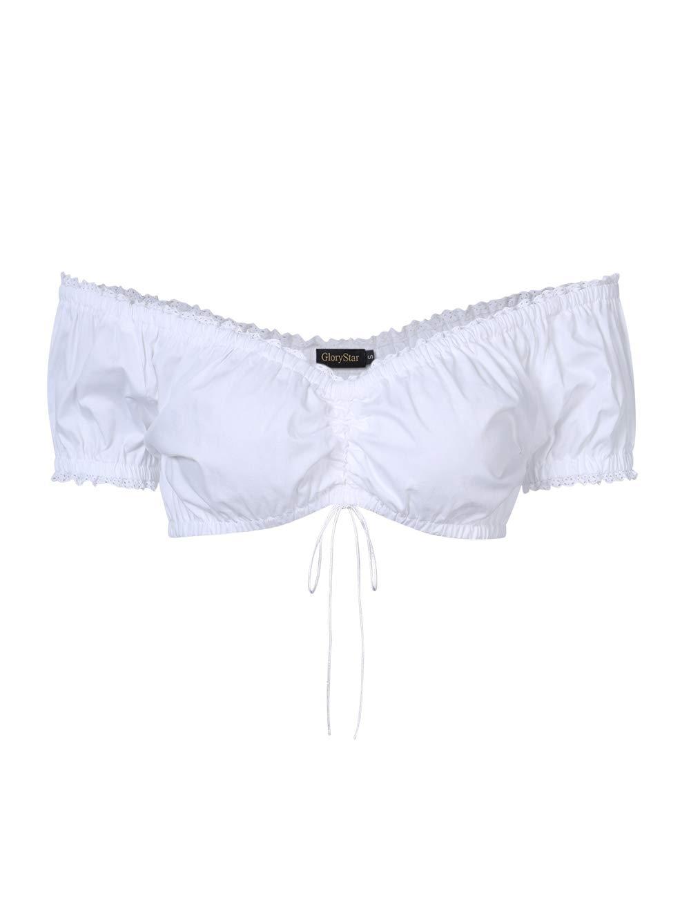 Leoie Glorystar Women's Bavarian Oktoberfest Tube Top Barmaid Fitted Costume Shirt White 2XL