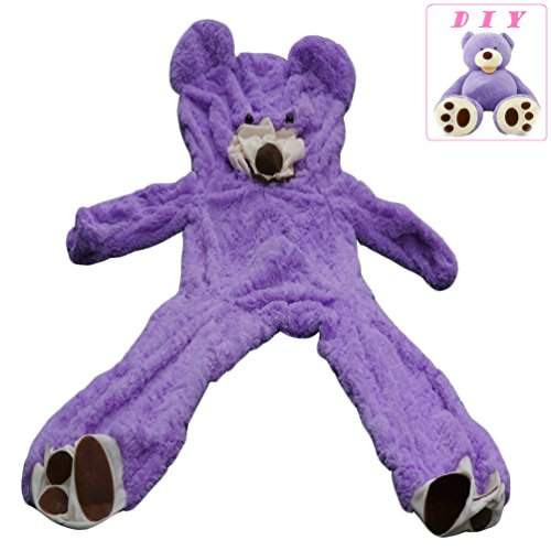 Life Size Huge Plush Teddy Bear Unstuffed Soft Giant Animal Toy (79 inch/ 6.6 foot), DIY Purple Bear for Valentines Day Birthday Gifts, Only Cover, Sealing with the Zipper at Shells Back