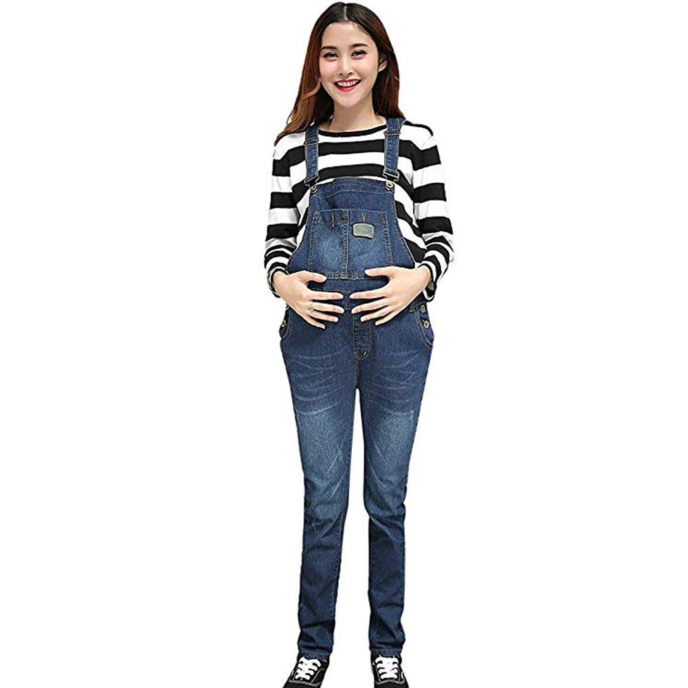Happysky Maternity Womens Maternity Panel Skinny Suspender Trousers Length Denim Overalls Jumpsuit