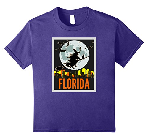 Kids Vintage Halloween FLORIDA Witch Cat Trick or Treat T-Shirt 12 Purple