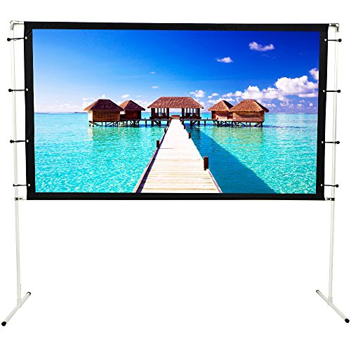 Projector Screen with Stand for Outdoor Indoor Foldable Portable Movie Screen 3D 4K 100inch 16:9 Transportable Full Set Bag ()
