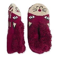 Ladies and Juniors Teddy Fur Critter Slipper Socks W/ Non Slip Grips