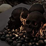 Ceramic Fire Pit Skull | Fireproof Ceramic Decoration for Fire Pits and Fireplaces | Faux Halloween Decor, (Black, 1-Pack)