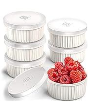 Hatrigo Porcelain Ramekins with Silicone Storage Lids, Set of 6 White Color, 6 oz Oven Safe to 450 deg F, Dishwasher Safe