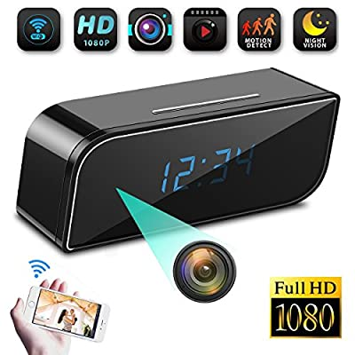 Spy Camera Clock WiFi Hidden Camera,HD 1080P Wireless IP Camera Video Recorder Nanny Cam for Indoor Home Office Security Motion Detection Night Vision Looping Recording Support iOS & Android from F.Dorla