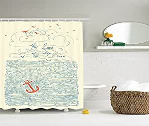 Quotes Shower Curtain by Ambesonne, My Love As Deep As the Ocean Waves Nautical Anchor Home Decor Bathroom Bath Design Art Prints Love Quotes Polyester Fabric Shower Curtain Cream Navy Masturd