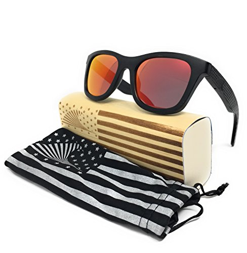 Patriot Shades Wayfarer Sunglasses by LOUDMOUTH PATRIOT, Polarized & Floating American Flag Bamboo Wood Sunglasses (BLACK, - Sunglasses Usa Hut