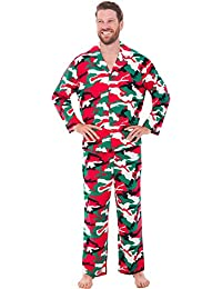Mens Solid and Printed Flannel Pajamas, Long Cotton Pj Set