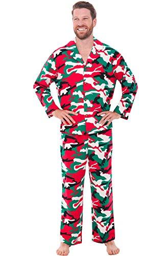 Alexander Del Rossa Mens Flannel Pajamas, Long Cotton Pj Set, Large Christmas Camouflage (A0544N26LG) -