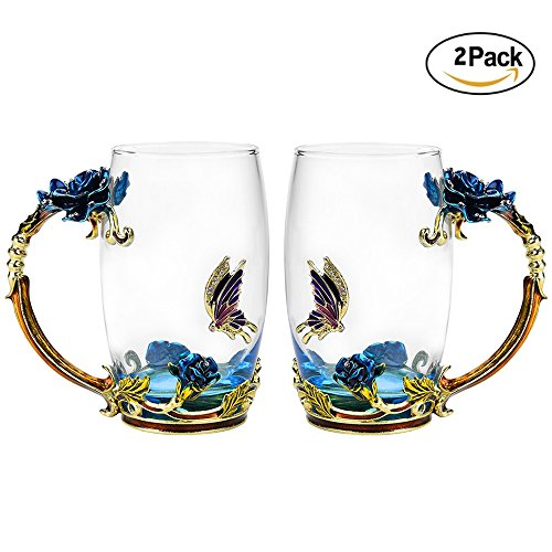 Glass Tea Cup Set [2-Pack], TIANG 12oz Lead-Free Butterfly and Blue Rose Flower Tea Mug with Handle, Unique Personalized Birthday Present Ideas for Women Grandma Mom Teachers Hot Beverages (Blue Butterfly Tableware)