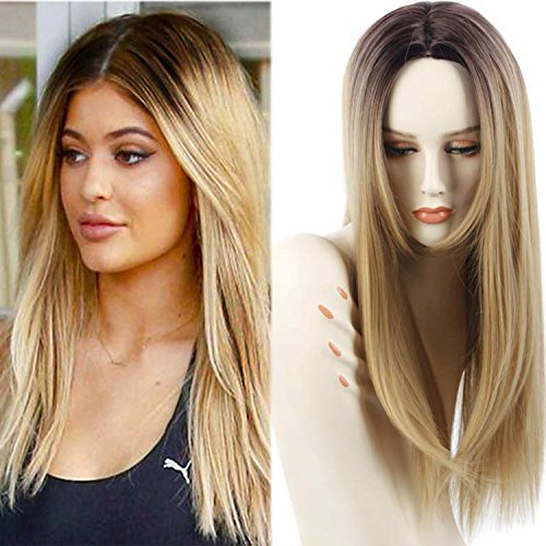 Synthetic Ombre Wigs for Women Two Tone Black Roots Natural Long Straight Heat Resistant Synthetic Blonde Hair Wigs with Wig Cap (Blonde) (Brush Regrow Hair To)