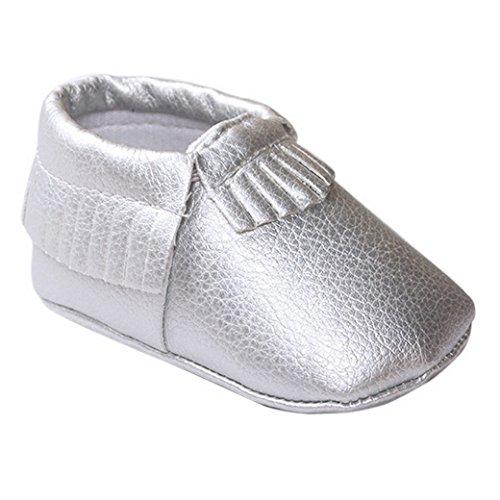 HAPPY CHERRY Suaves Zapatos Primeros Pasos Zapatitos sin Cordones Suela Antideslizante Mocasines para Bebés Niños Niñas 12-18 Meses Color Vino Tinto Plata