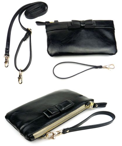 Convertible Ribbon Wristlet Purse with Crossbody Shoulder Strap (Black)