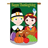 Cheap Two Group – Thanksgiving Fall – Seasonal Thanksgiving Applique Decorative Vertical House Flag 28″ x 44″