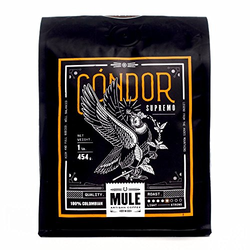 MULE Artisan Coffee - CONDOR Medium Roast Colombian Coffee Beans | Best Fresh Gourmet Aromatic Blend | Fair Trade Single Origin Highest Quality Artisan Whole Beans.
