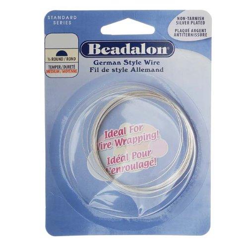(Beadalon German Style Wire, Half Round, Tarnish Resisitant Silver Plated, 20 gauge, 3-Meters)