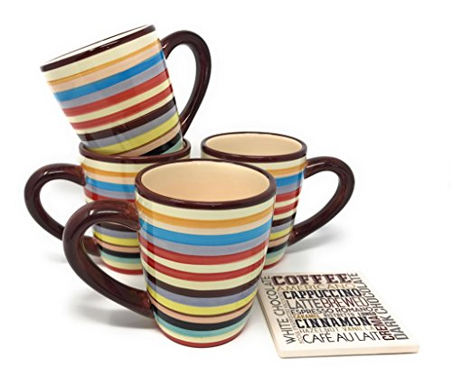 Two Toned Ceramic Mug (Sedona Set of Four 16 Ounce Ceramic Coffee Mugs As Seen on