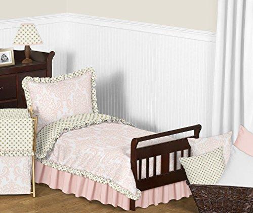 Amelia Comforter Set - Sweet Jojo Designs 5-Piece Blush Pink White Damask and Gold Polka Dot Amelia Toddler Kids Childrens Girls Bedding Comforter Sheet Set