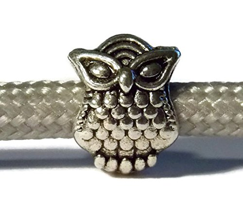 25 Pack of Paracord Bead Owl Metal Beads with 4mm Diameter Hole - Midwest Cord TM Brand Parachute 550 Cord Accessories - Trendy Owls by Midwest Cord