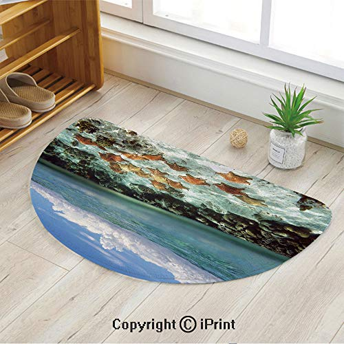 LEFEDZYLJHGO Half Circle Mat for Front Door Inside Floor Dirt Entrance Rug,Split View with Sky and Clouds Above Under The Sea Wildlife and Ocean Rocks Decorative,39
