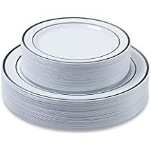 "Disposable Plastic Plates - 60 Pieces - (30 × 10.25"" Dinner and 30 x 7.5"" Salad Combo) - Silver Trim Real China Design - Premium Heavy Duty - By Aya's Cutlery Kingdom"