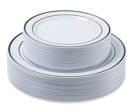 Disposable Plastic Plates - 60 Pack - 30 x 10.25\u0026quot; Dinner and 30 x 7.5\u0026quot  sc 1 st  Amazon.com & Amazon.com: Disposable Plastic Plates - 60 Pack - 30 x 10.25\