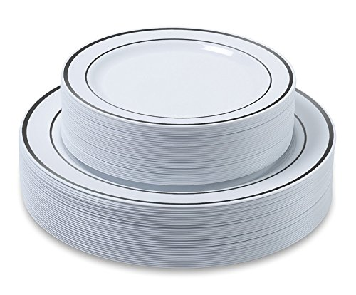 "Price comparison product image Disposable Plastic Plates - 60 Pack - 10.25"" Dinner and 7.5"" Salad Combo - Silver Trim Real China Design - Premium Heavy Duty - by Cutlery Kingdom"